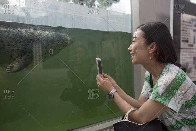 A woman crouching by a marine tank at an aquarium taking an image with her smart phone.