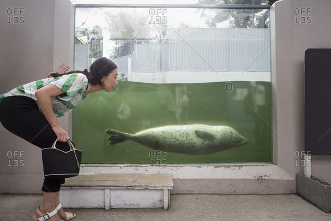 A woman crouching by a marine tank at an aquarium exhibit