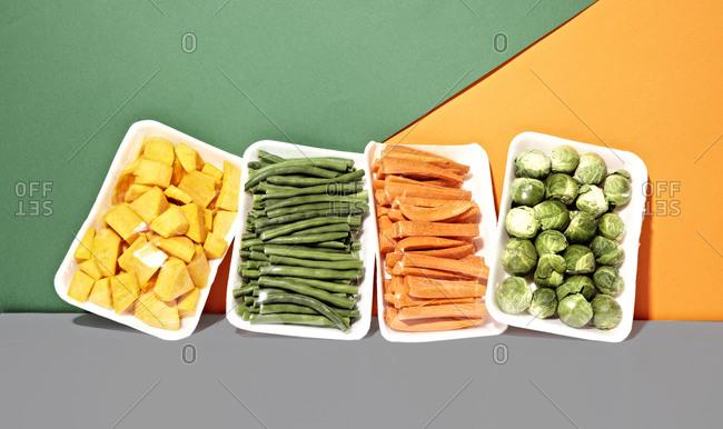 Four kinds of veggies on styrofoam tray