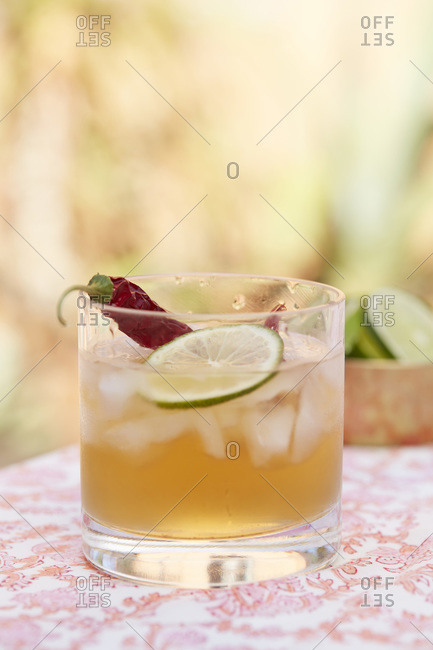 Spicy tequila cocktail with chili and lime