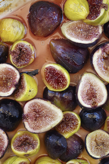 Close up of figs in a sugary syrup
