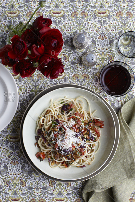 Italian pasta dish with vegetables