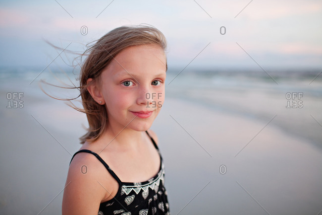 Portrait of blond girl on beach