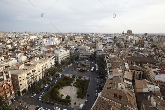 View over Placa de la Reina in Valencia, Spain