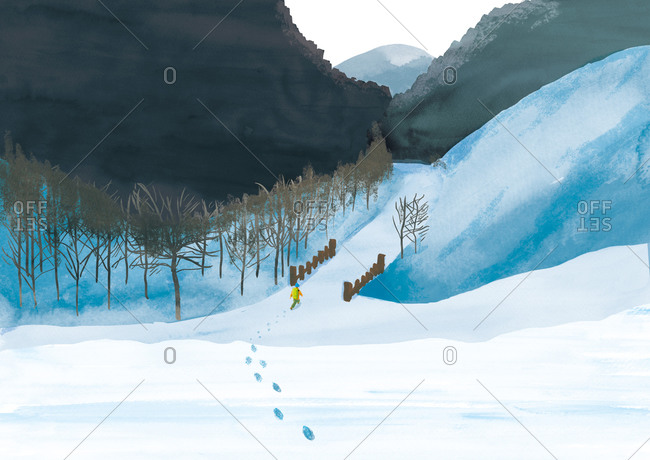Hiker in winter landscape