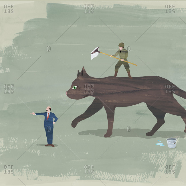 Businessman directing a soldier on the back of a cat