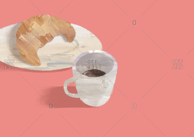 Plate with croissant and cup of coffee