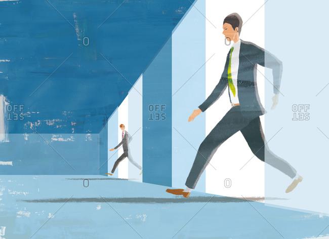 Two businessmen rushing through doorways