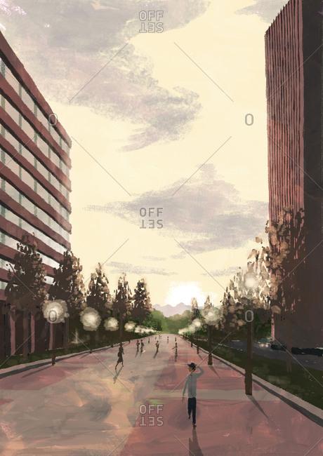 Walkway with people between two buildings
