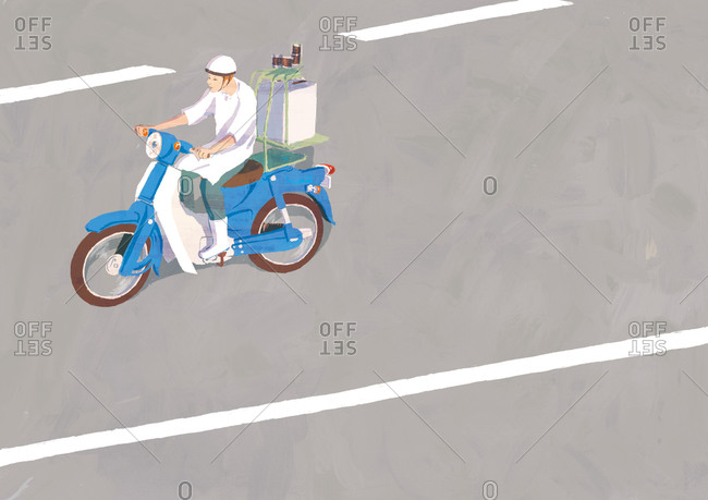 Moped delivery person