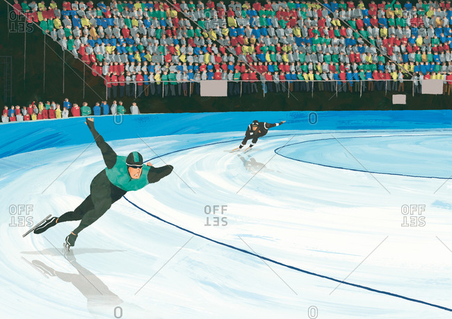 Competitive speed skaters racing on ice
