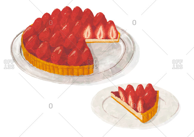 Strawberry tart with slice removed