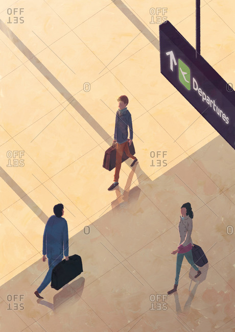 Overhead view of airport travelers