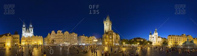 Prague, Czech Republic - June 6, 2014: Tourists on Old Town Square at night, Prague