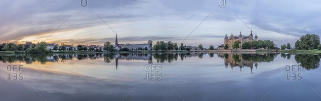 Schwerin Castle and city at dusk, Schwerin