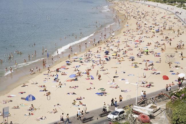 San Sebastian, France - January 15, 2010: Aerial view of crowded beach