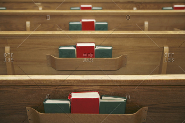 Hymnals in church pews