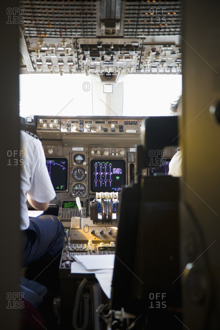 Pilot in plane cockpit