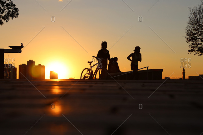 Parkgoers silhouetted by sun