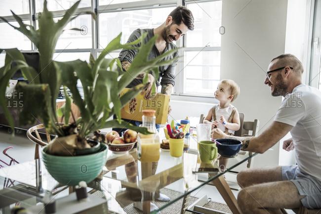 Family having breakfast together