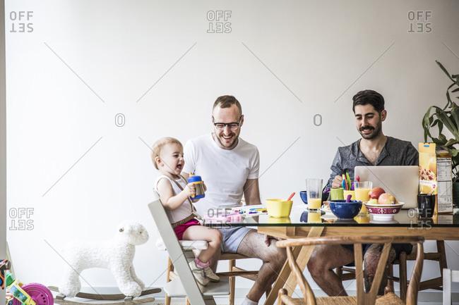 Family having breakfast in the morning
