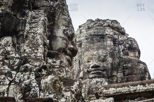 Angkor, Cambodia - December 9, 2013: The Bayon Temple at Angkor Thom, Angkor, Cambodia