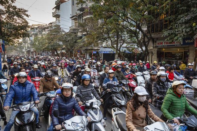 Hanoi Vietnam - December 24, 2013: Busy traffic in the old quarter, Hanoi, Vietnam