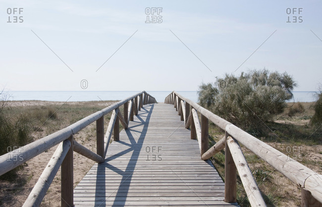 View of boardwalk with blooming gorse at beach near Atlantic ocean, La Brena, Andalusia, Spain
