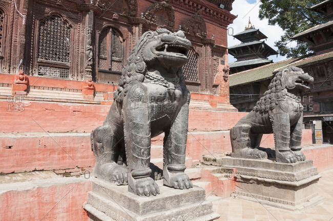 Two bronze lion sculpture Durbar Square Kathmandu