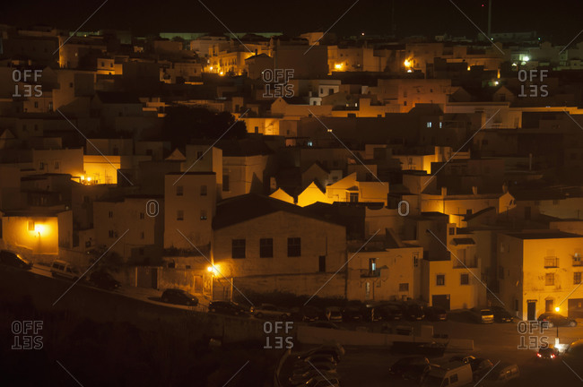 View of whitewashed village houses at night, Vejer de la Frontera, Andalusia, Spain