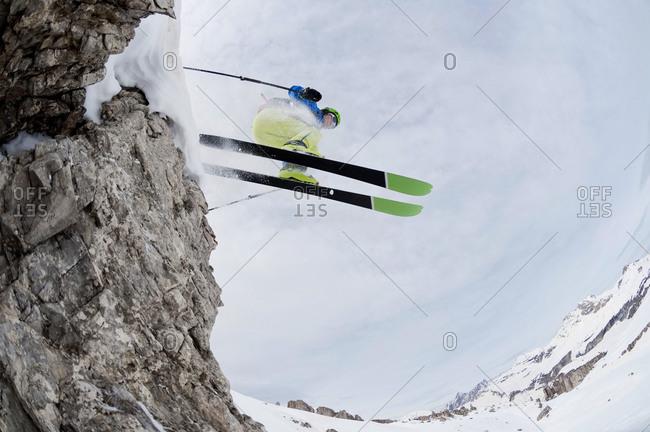 Man skiing downhill, Santa Cristina, Valgardena, Alto Adige, Italy