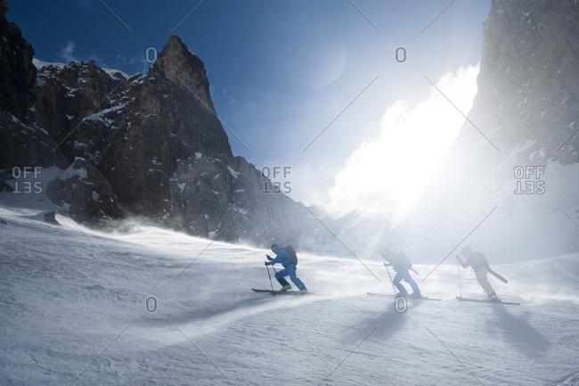 Men on a ski tour, Santa Cristina, Valgardena, Alto Adige, Italy