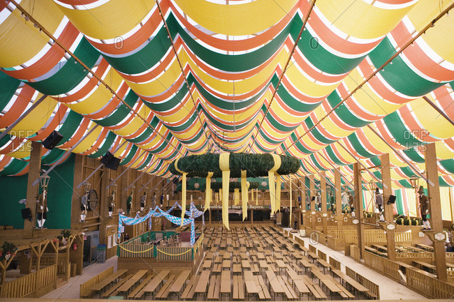 Interior of empty beer tent at Oktoberfest Munich Germany