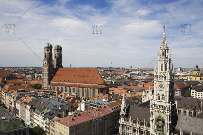 The Frauenkirche church and Rathaus bell tower Munich Germany