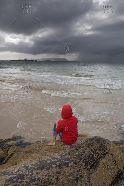 Girl on beach Morar Inverness-shire Scotland UK