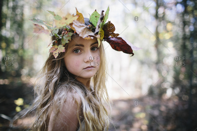 A girl with a leaf crown