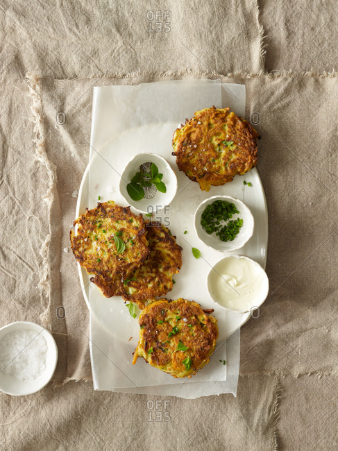 Root vegetable pancakes with creme fraiche