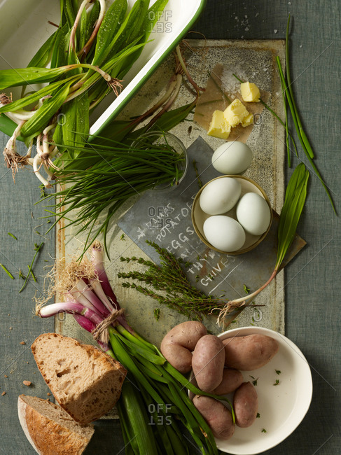 Fresh ramps with eggs and potatoes