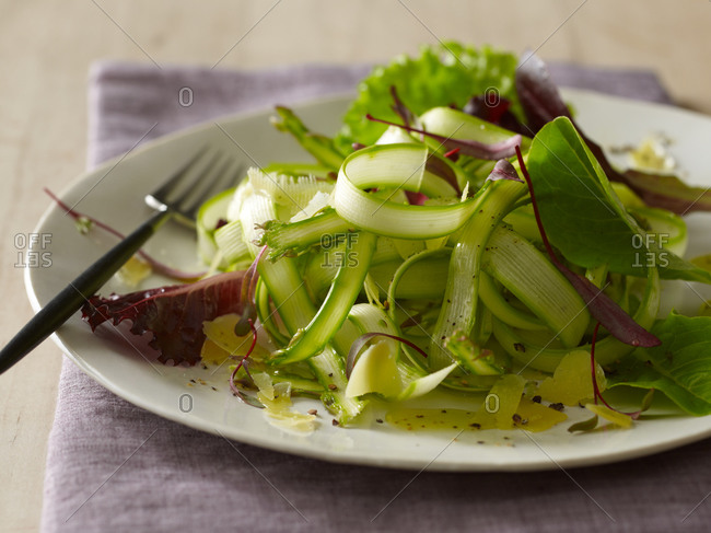 Shaved asparagus salad with micro-greens