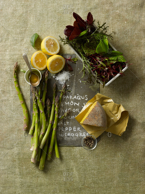 Asparagus with micro-greens and Pecorino cheese