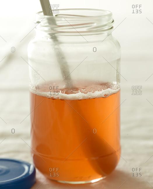 Close up of a jar of tea