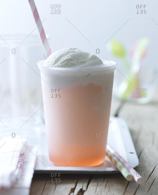 Rhubarb flavored ice cream soda