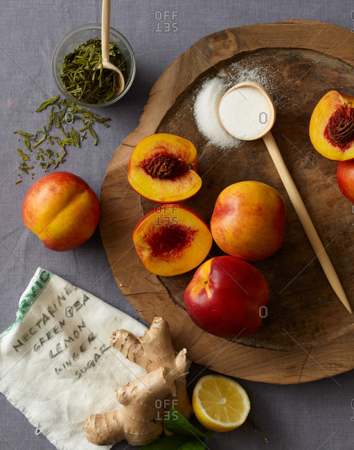 Sliced peach and whole fruit with other ingredients