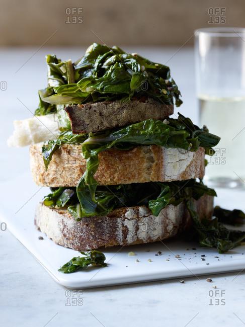Kale and green garlic bruschetta