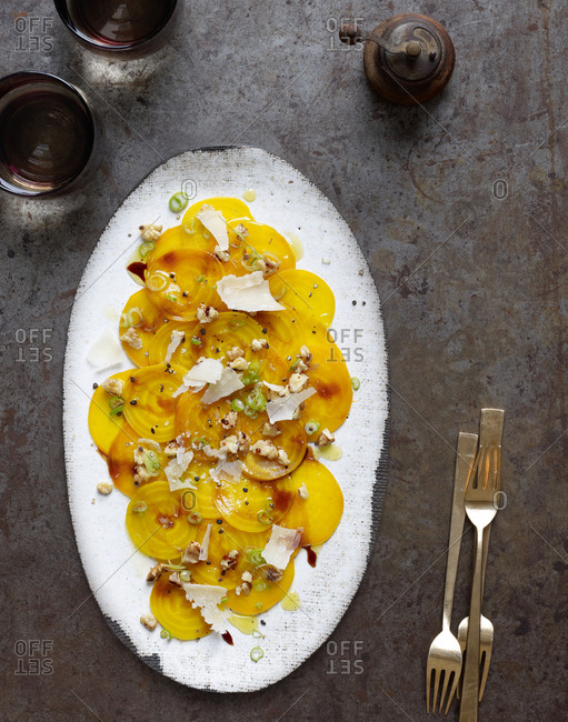 Yellow beets with parmesan