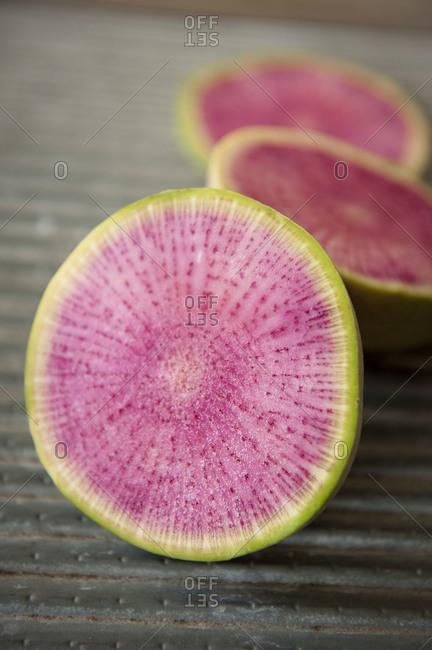 Watermelon radish cut in half