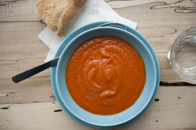 Bowl of creamy tomato soup