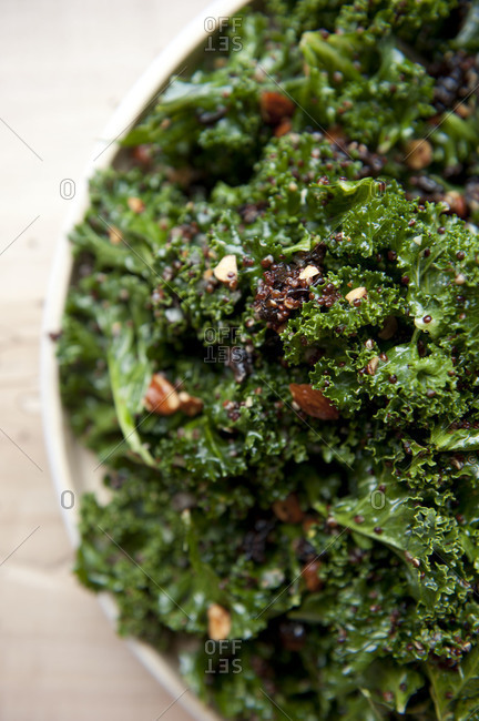 Close up of kale salad