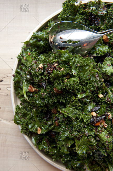 Fresh kale salad with almonds