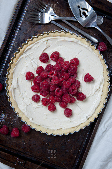 Mascarpone tart topped with raspberries